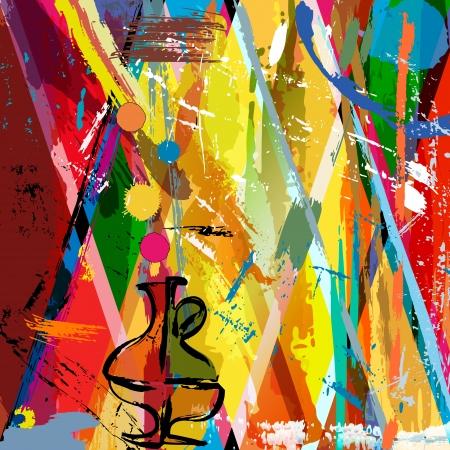 페인트 선 및 밝아진 추상적 인 배경, 스톡 콘텐츠 - 23754316