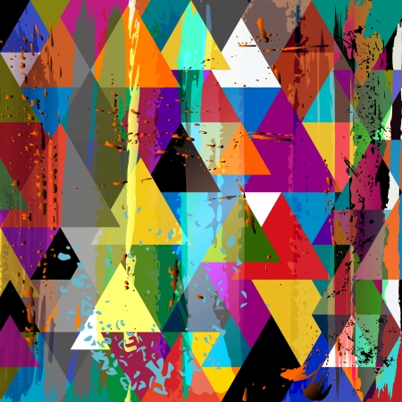 abstract background, with triangle, paint strokes and splashes