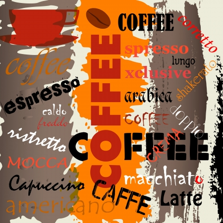 abstract coffee background, with word letter, design template, grungy Stock Illustratie