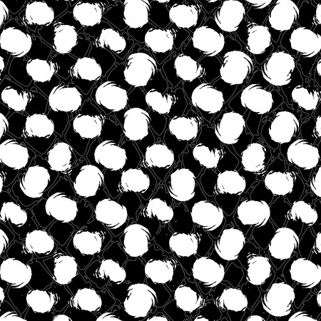chequered drapery: polka dots pattern, seamless, with strokes, black and white, grungy Illustration