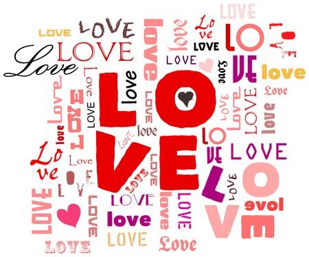 love illustration, word cloud Vector