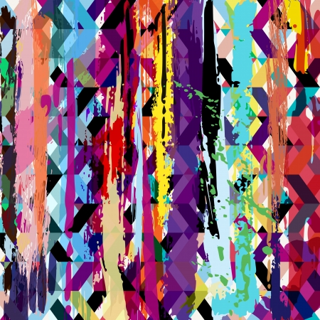 abstract background, with paint strokes, splashes and squares, zigzag