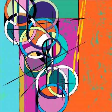 サークルの抽象は、ペイント ストロークと水しぶき、レトロヴィンテージ スタイル