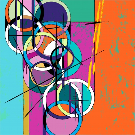 modern art: abstract circle , with paint strokes and splashes, retrovintage style