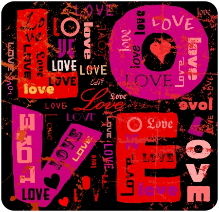 love illustration,  grunge style, vector Vector
