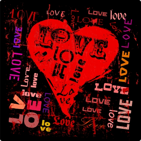 love illustration, hearts and words, grungy style, vector Vector