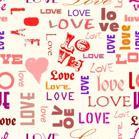 love illustration seamless pattern, typography, vector Vector