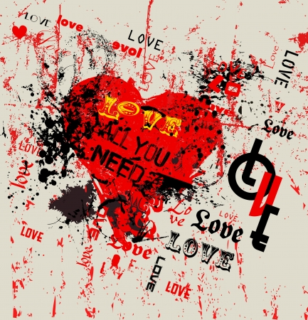 love illustration,  grunge style, vector Stock Vector - 24899650