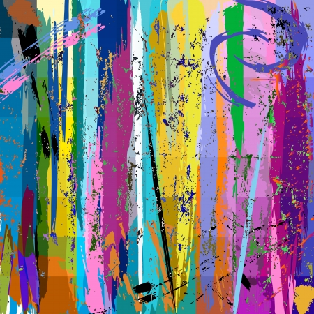 abstract background, with paint strokes, splashes and squares Vector