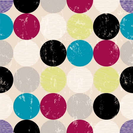 seamless pattern background, retrovintage style, with circles