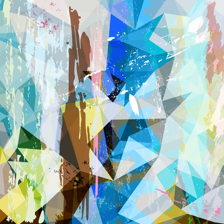 abstract background composition, with strokes, splashes and triangles Vector