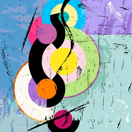 modern art painting: abstract circle background, retro vintage style with paint strokes and splashes