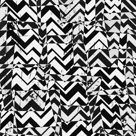 abstract geometric background, with strokes and splashes, zigzag, black and white Vector
