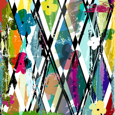 abstract background, with strokes, splashes and little flowers Vector