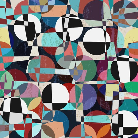 abstract geometric background, with strokes, splashes, circles and trapeze Stock Illustratie