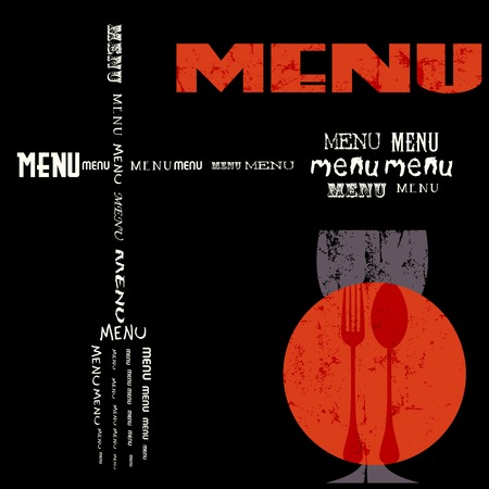 menu card design template for restaurant, grungy Vector