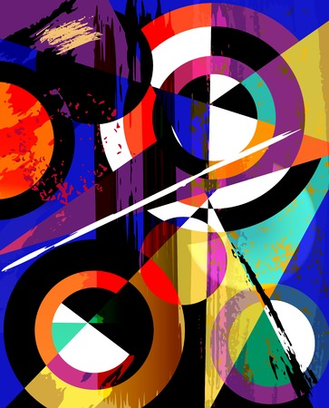 abstract geometric background, with circles, triangles, paint strokes and splashes