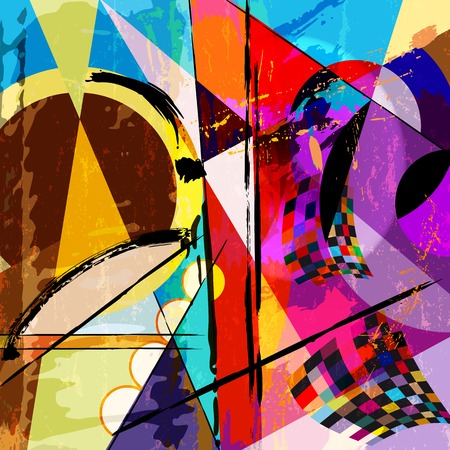 abstract background, with paint strokes, splashes and geometric lines Vector