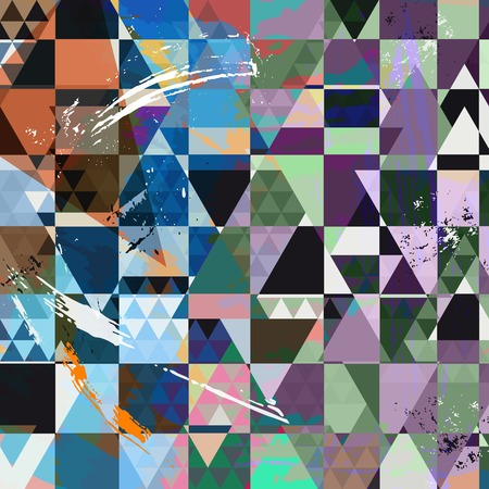 hue: abstract background, with strokes, splashes, triangles and squares Illustration
