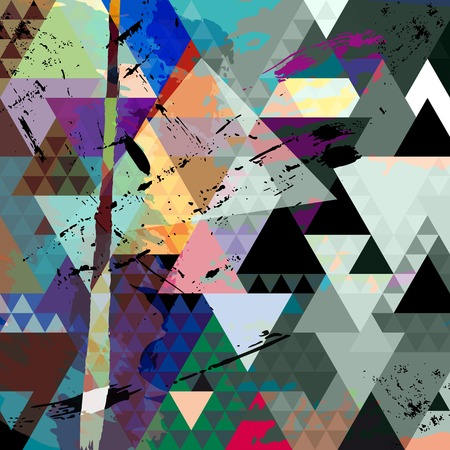 abstract background, with strokes, splashes and triangles Vector