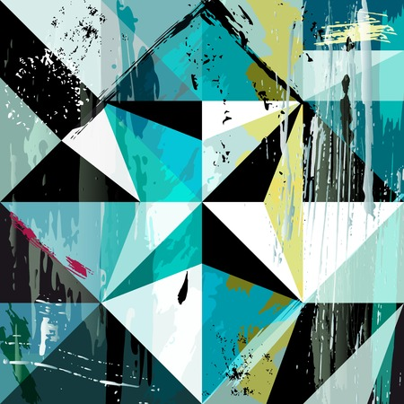 abstract background composition, with strokes, splashes and geometric lines Stock Illustratie