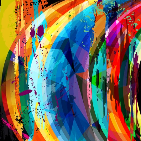 abstract background composition, with strokes, splashes, stripes and triangles Vector