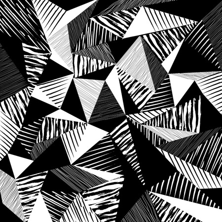 abstract geometric background, with strokes, splashes, triangles and stripes, black and white Illustration
