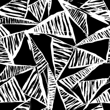 abstract geometric background, with strokes, splashes, triangles and stripes, black and white Vector