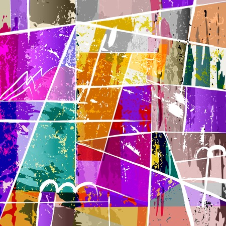 abstract background composition, with paint strokes, splashes and squares Illusztráció
