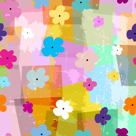 trapeze: floral seamless pattern background, with trapeze, strokes, splashes and little flowers