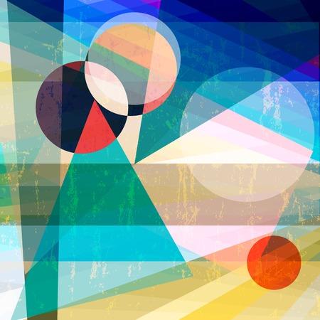 fondo abstracto geométrico, con triángulos y círculos, sucio