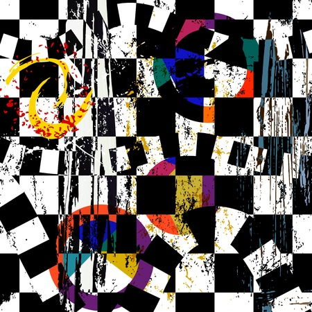 abstract painting: abstract background composition, with strokes, splashes and circles, black and white