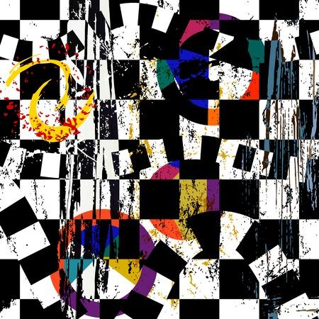 cuadros abstractos: resumen de antecedentes composici�n, con golpes, salpicaduras y c�rculos, blanco y negro Vectores