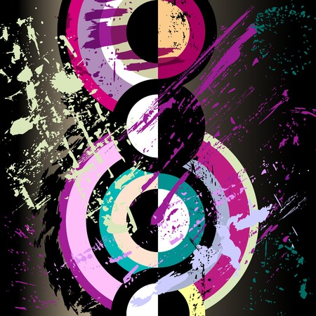 abstract circle background, retro/vintage style with paint strokes and splashes Stock Illustratie