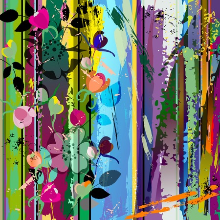 slideshow: abstract background composition with wild roses, with strokes, splashes and geometric lines Illustration