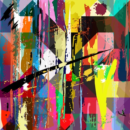 painting on wall: abstract background, with paint strokes, splashes and squarestriangles