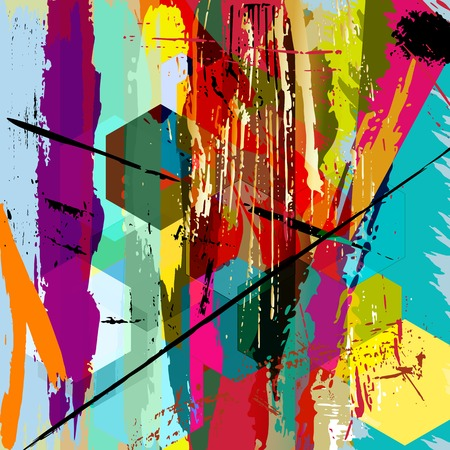 abstract background illustration, with paint strokes, splashes and squares