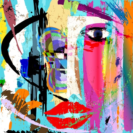 retro art: abstract background composition, with paint strokes and splashes, facemask