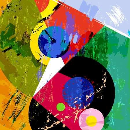 abstract circle background, retrovintage style with paint strokes and splashes