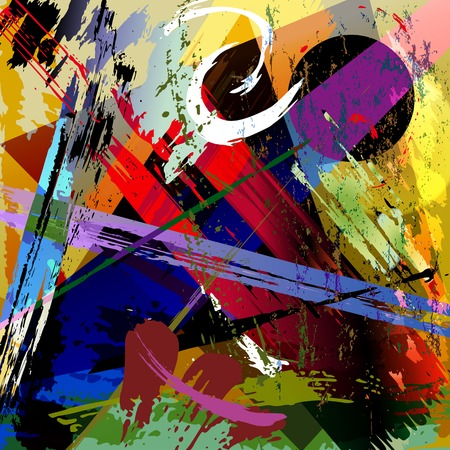 abstract background composition, with paint strokes, splashes and geometric lines Stock Illustratie