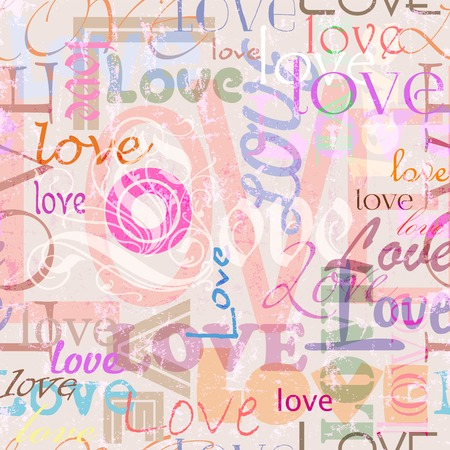 seamless pattern background, with grungy love concept, wordletter photo