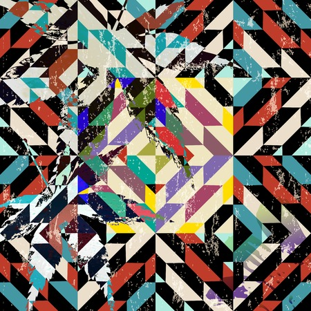 modern painting: abstract geometric background, with paint strokes, splashes, squares and leaves