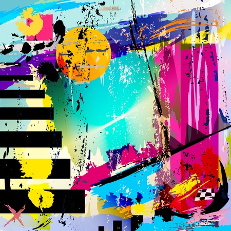 abstract background, with squares, triangles, paint strokes and splashes Stock Illustratie