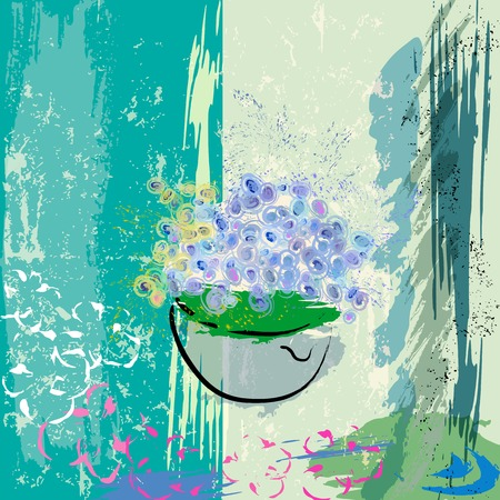 mixed flower bouquet: abstract background design, with paint strokes and splashes