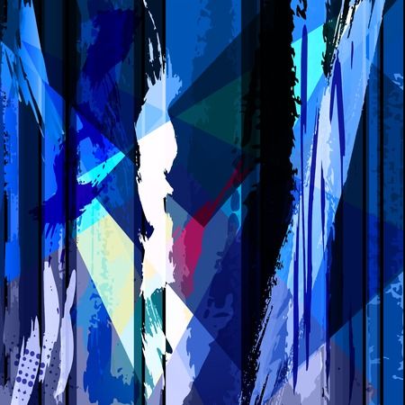 paintings on canvas: abstract background composition, with strokes, splashes and geometric lines Illustration