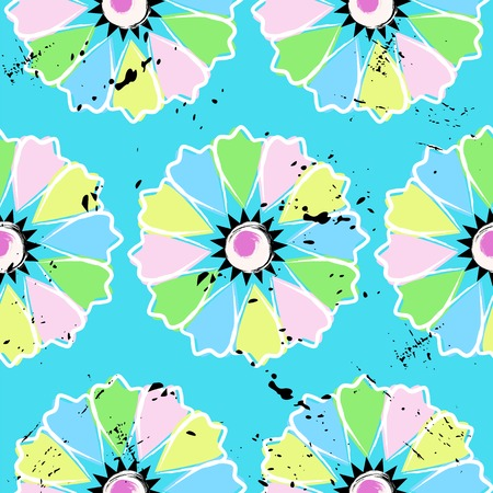flower power: seamless abstract flower power background, illustration, with strokes and splashes