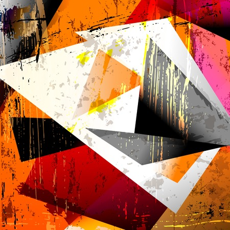 hue: abstract background, with squares, triangles, paint strokes and splashes Illustration