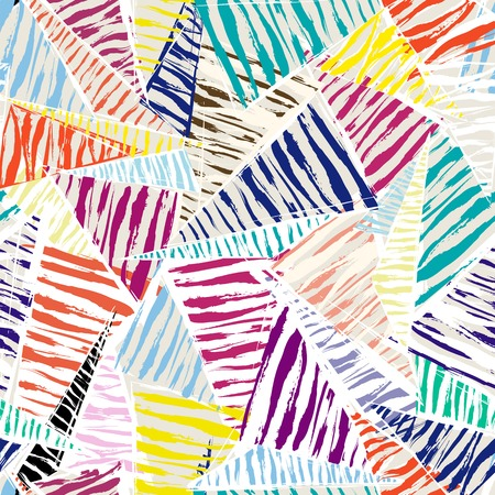 seamless pattern background, with strokes, splashes, triangles and stripes