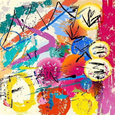 pintura abstracta: fondo abstracto, con trazos de pintura y salpicaduras Vectores