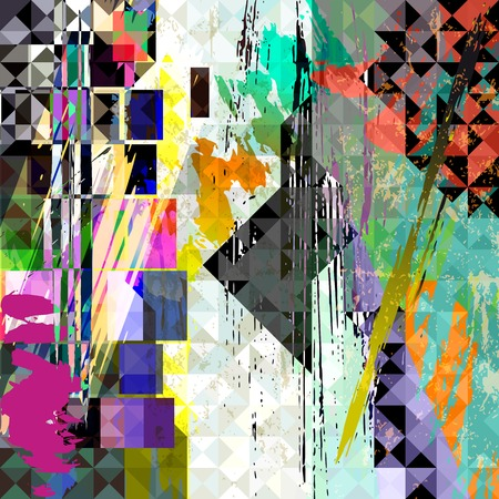 paint strokes: abstract geometric background, with paint strokes, splashes, trianglessquares Illustration